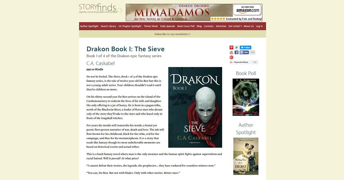 drakon, sieve, caskabel, storyfinds, epic, fantasy,